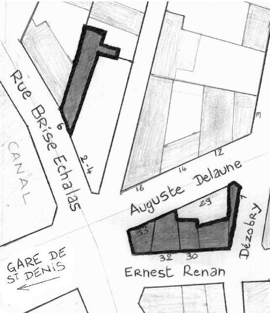 Plan tête delaune quartier gare saint denis